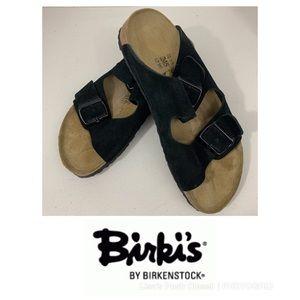 Birki's Black Suede Double Strap Sandals